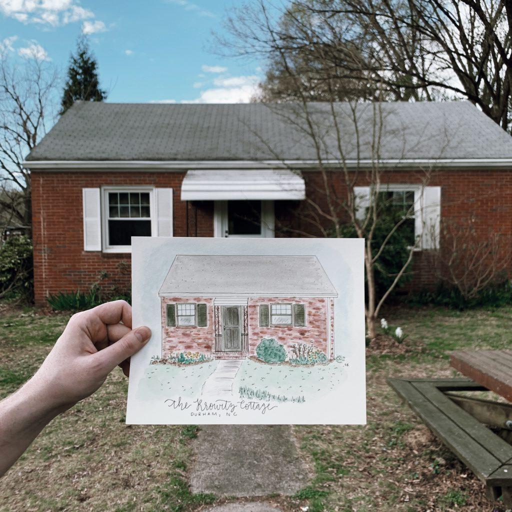 The Doctorette Krowitz Cottage illustration designed by CK Creations in Durham, NC