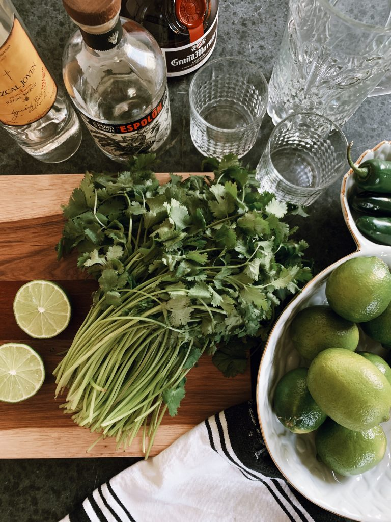 Cilantro margarita recipe ingredients from The Doctorette